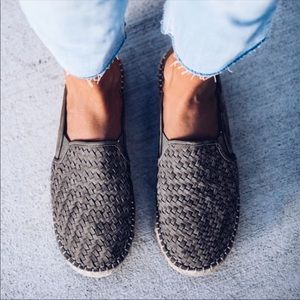 Gray Weaved Flat Espadrille Slip On Sneakers